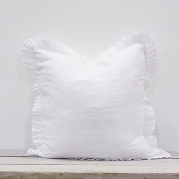 Olivia Ruffle Cushion, 65 x 65cm, white