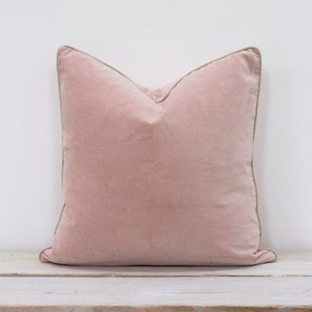 Velvet cushion, 50 x 50cm, blush