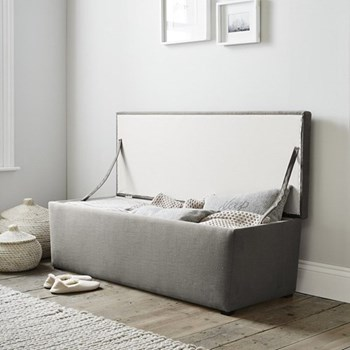 Langley Cotton ottoman with dark stained beech legs, W140 x D50 x H50cm, silver