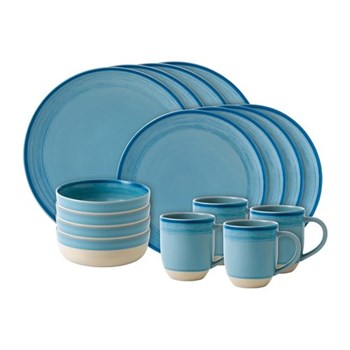 Ellen DeGeneres - Brushed Glaze 16 piece dinner set, polar blue