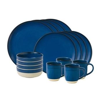Ellen DeGeneres - Brushed Glaze 16 piece dinner set, dark blue