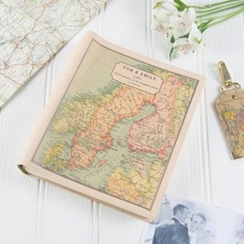 Medium photo album with personalised map cover 25 x 22 x 5cm