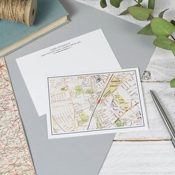 Pack of 50 postcards, W14.8 x H10.5cm, personalised map