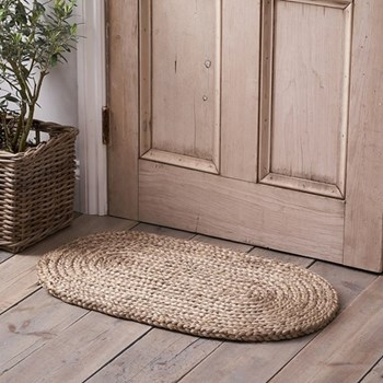 Braided oval doormat, 77 x 46cm, natural jute