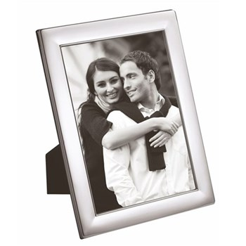 """W Series - Plain Photograph frame, 6 x 4"""", silver plate with mahogany finish back"""