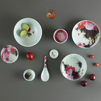 Set of 6 stackable melamine bowls and spoon D22.50 x H39cm