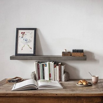 Concrete wall-mounted shelf L60 x W12 x H4cm