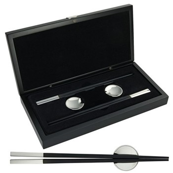 Pair of chopsticks and holders in wooden box