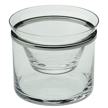 Cercle Caviar dish, 250g, glass with silver rim