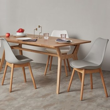 Thelma Set of 2 dining chairs, oak and grey