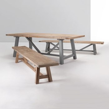 Iona Extra large dining table, H76 x W100 x D240cm, solid pine and grey