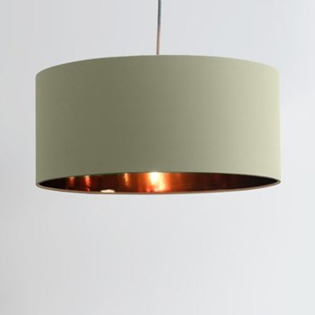 Hue Pendant shade, H20 x W45 x D45cm, desert sage and copper