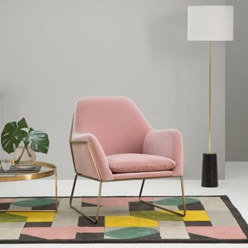 Frame Armchair, H84 x W77 x D88cm, blush cotton velvet
