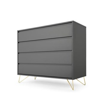 Elona Chest of drawers, H100 x W120 x D45cm, charcoal and brass