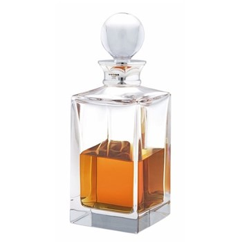 Classic Spirit decanter with silver mounted collar, crystal and sterling silver