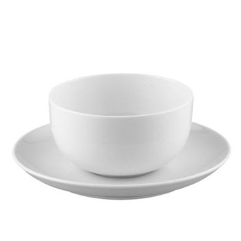 Moon Sauce boat and stand, 45cl, white