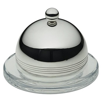 Feeling Butter dish, glass with silver plate dome lid