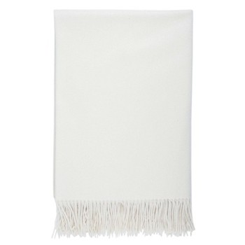 Plain Cashmere throw, 190 x 140cm, white