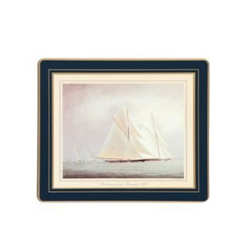 Racing Yachts - Traditional Range Set of 6 tablemats with frame line, 24 x 20cm, Oxford blue