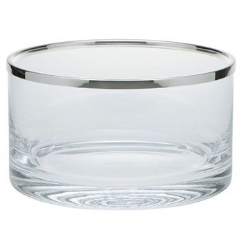 Cercle Bowl, 16cm, straight sided glass with silver rim