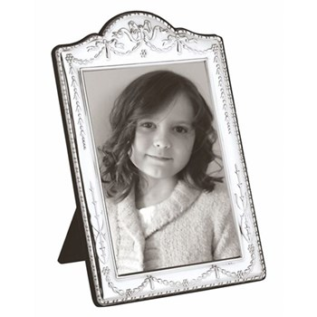 "British Antique Photograph frame, 10 x 8"", sterling silver with blue velvet back"
