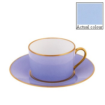 Sous le Soleil Teacup and saucer straight sided, 15cl, ice blue with gold band