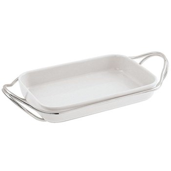 Living Rectangular serving dish, 35cm, porcelain with silver plated stand