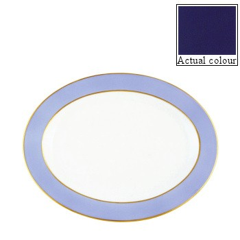 Sous le Soleil Oval platter, 40cm, cobalt blue with gold band