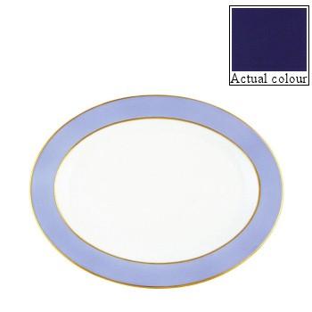 Sous le Soleil Oval platter, 36cm, cobalt blue with gold band
