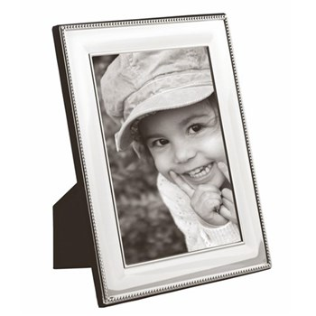 """LR Series - Bead Photograph frame, 10 x 8"""", sterling silver with mahogany finish back"""