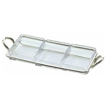 Vertigo Snack server 3 part rectangular, 31cm, Christofle silver