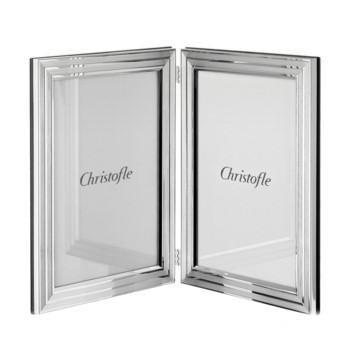 "Filets Double photograph frame, 10 x 15cm (4 x 6""), Christofle silver"