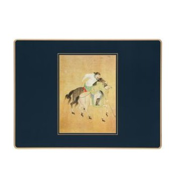 Ming Polo - Traditional Range Set of 4 continental placemats with frame line, 39 x 29cm, black