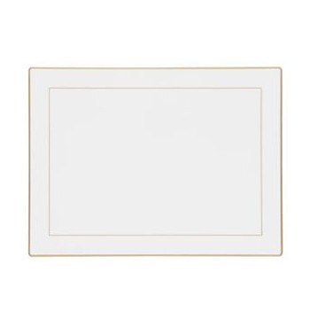 Screened Range Set of 4 continental placemats with frame line, 39 x 29cm, white