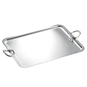 Vertigo Rectangular tray with handles, 53 x 42cm, Christofle silver
