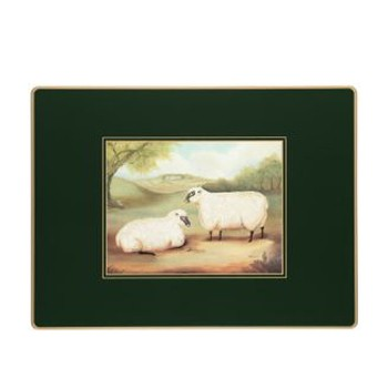 Naive Animals - Traditional Range Set of 4 continental placemats, 39 x 29cm, bottle green