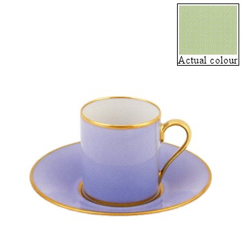 Sous le Soleil Coffee cup and saucer straight sided, 9cl, pastel green with gold band