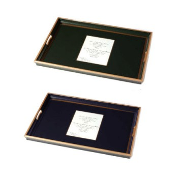 Wedding invitation tray with glass base, 55 x 40cm, black with gold