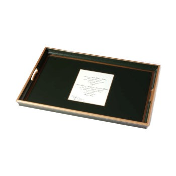 Wedding invitation tray with glass base, 55 x 40cm, bottle green