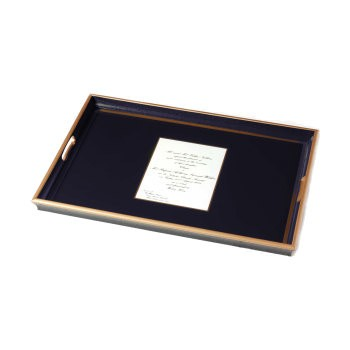 Wedding invitation tray with glass base, 55 x 40cm, Oxford blue