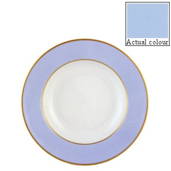 Sous le Soleil Soup plate, 22.5cm, ice blue with gold band