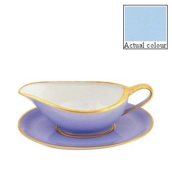 Sous le Soleil Sauce boat and stand, opal with gold band