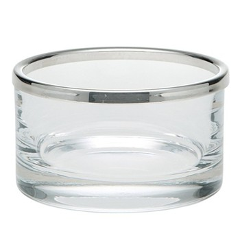 Cercle Bowl, 11cm, straight sided glass with silver rim