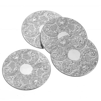 "Set of 4 drinks mats, 3.5"", silver plate"