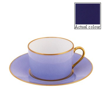 Sous le Soleil Teacup and saucer straight sided, 15cl, cobalt blue with gold band