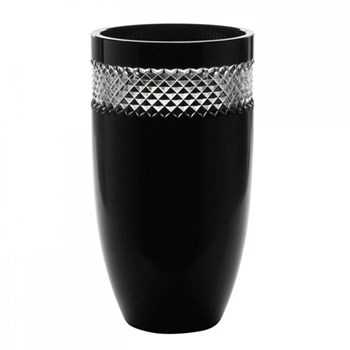 John Rocha - Black Cut Vase, 12""
