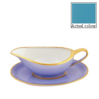 Sous le Soleil Sauce boat and stand, turquoise with gold band