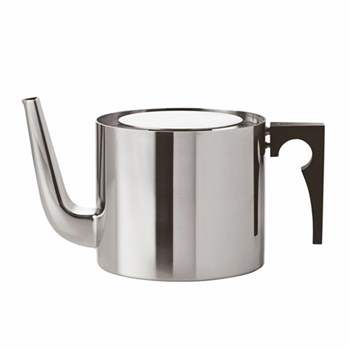 Arne Jacobsen Teapot, 1.25 litre - H11 x W13cm, satin stainless steel with bakelite handle