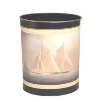 Wastepaper bin with hand guilded gold rim H28cm