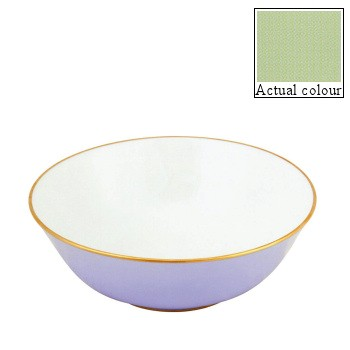 Sous le Soleil Open vegetable dish/salad bowl, 25cm, pastel green with gold band